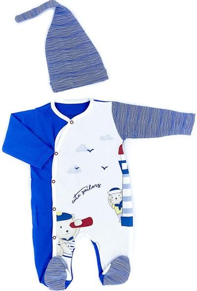Bebitof Erkek Bebek Çizgili Ayıcıklı Bereli Tulum Takım