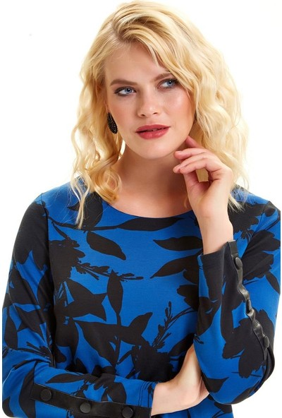 İkiler Kolları Deri Garnili Çıtçıtlı Desenli Elbise 201-2528