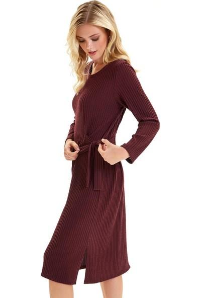 İkiler Beli Bağlamalı Uzun Kol Elbise