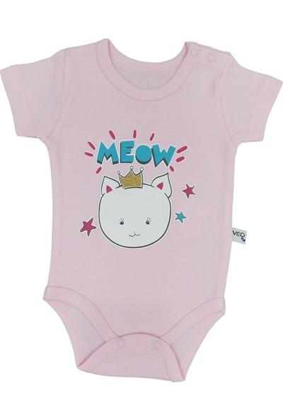 Veo Baby Meow Kedi Baskılı Kız Bebek Kısa Kollu Body