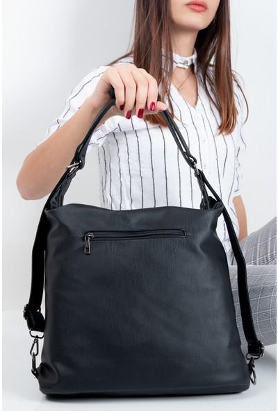 Hakkan Çanta Byhakan 504 Yerli Yıkama Deri Kadın Sırt Çanta Bayan Omuz Çanta Siyah