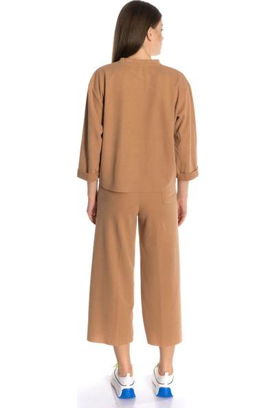 Emelyn Fashion Camel Bol Paça Eşofman Takımı