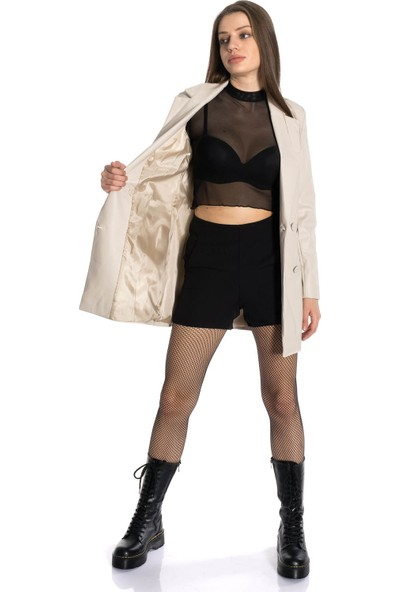 Emelyn Fashion Weiss Kadın Deri Mont & Ceket