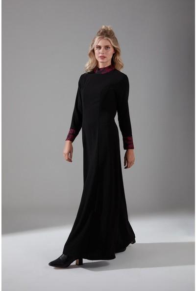 Mizalle Jakar Detaylı Elbise (Bordo)