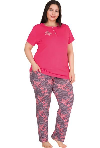 Lady Pembe Çiçekli Önden Kısa Yaka Düğmeli Büyük Beden Kadın Pijama Takımı