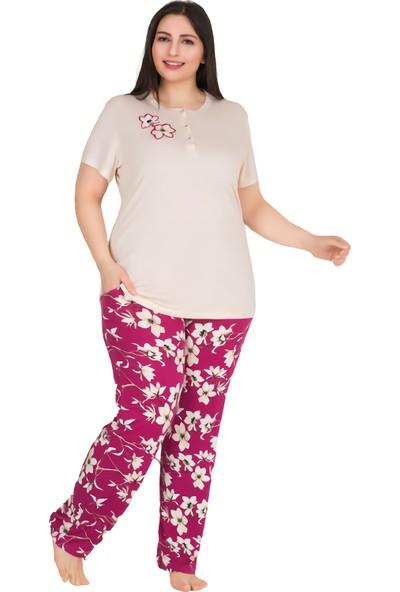 Lady Beyaz Çiçek Desenli Yakası Düğmeli Fuşya Renkli Büyük Beden Kadın Pijama Takımı