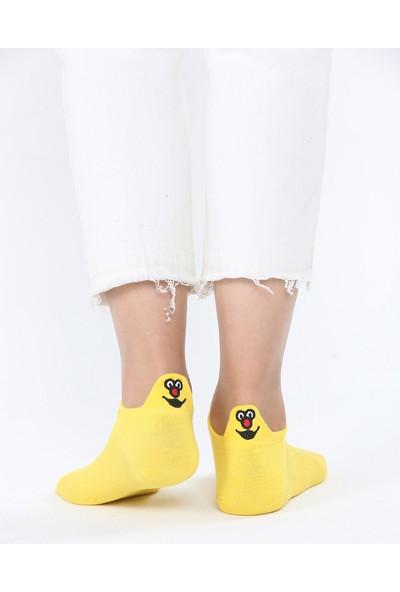 Miss Bella Kadın Sarı Emoj Desenli Çorap EM002