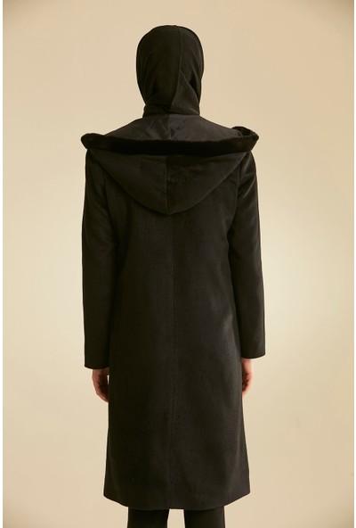 Nihan Kuşaklı Manto Siyah