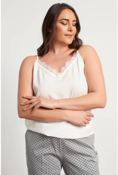 Myline Dantelli Ip Askılı Bluz