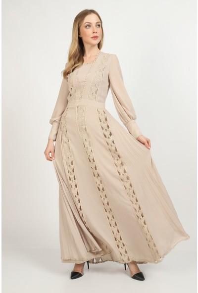 Three's Kelebek Aksesuar Detaylı Maxi Elbise 547-VİZON