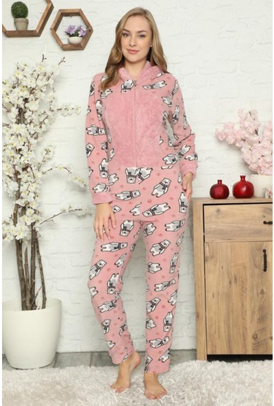 Pijama Evi Big Bear Desenli Kadın Polar Peluş Tulum Pijama