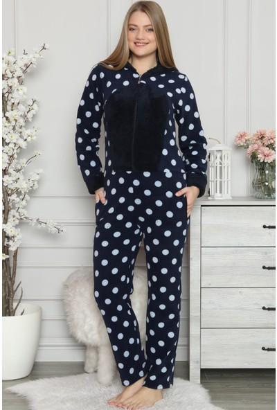 Pijama Evi Büyük Puan Desenli Kadın Polar Peluş Tulum Pijama