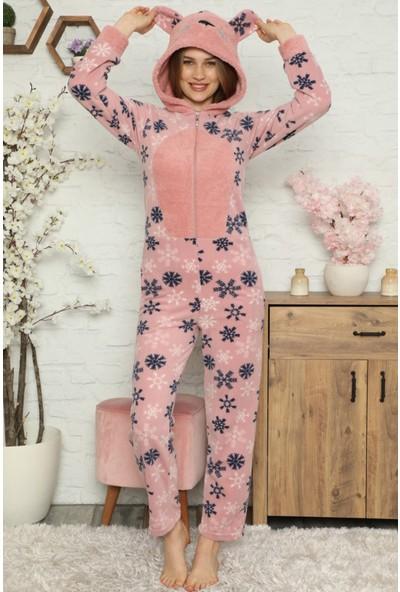 Pijama Evi Kartanesi Desenli Kadın Polar Peluş Tulum Pijama