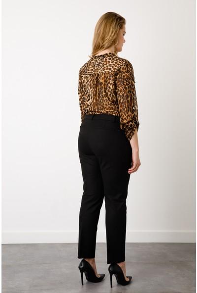 Ekol Kadın Çizgi Cep Dar Paça Pantolon 6051017 Siyah