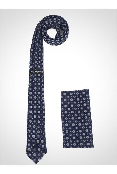 Uptown Desenli Kravat Mavi Genişlik 5cm