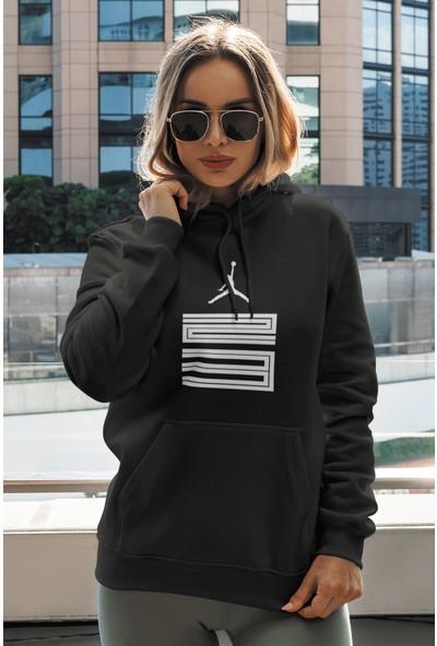 Pabucmarketi Siyah Nba Kadın Kapşonlu Sweatshirt - Hoodie