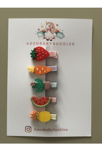 ADENBABYBUCKLES 5 Parça Meyve Desen Bebek Çocuk Tokası
