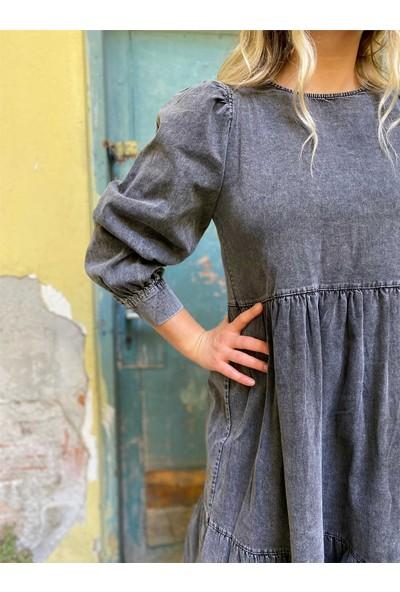 Sırt Detaylı Uzun Kol Kot Elbise