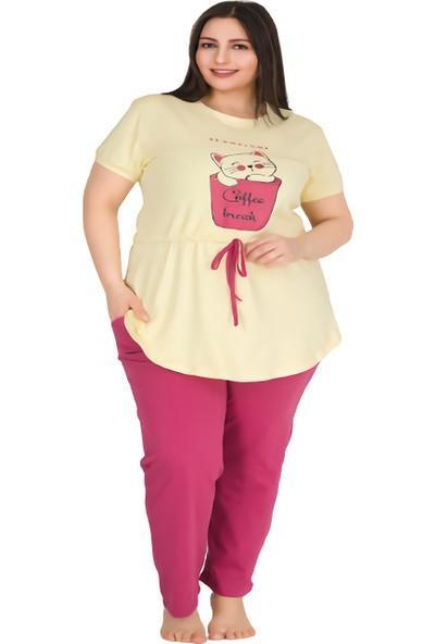 Lady Kedi Figürlü, Yuvarlak Yaka, Altı Cepli Pembe Renkli Büyük Beden Kadın Pijama Takımı