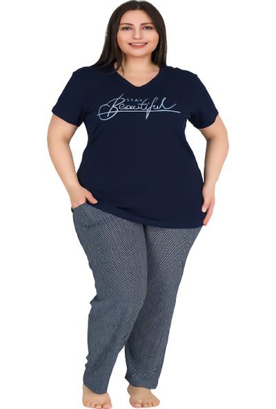 Lady Yazı Figürlü, V Yaka, Cepli Lacivert Renkli Büyük Beden Kadın Pijama Takımı