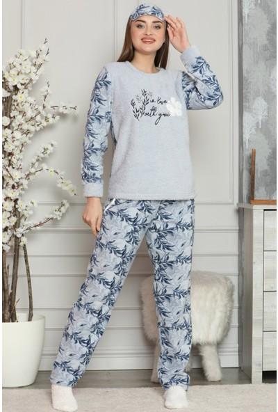 Pijama Evi Yonca Desenli Kadın Peluş Pijama Takımı