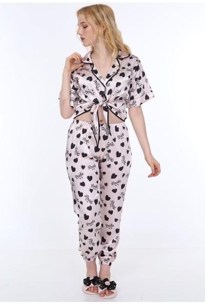 Asimod Kadın Bride Özel Baskı Saten Terlikli Pijama Takım