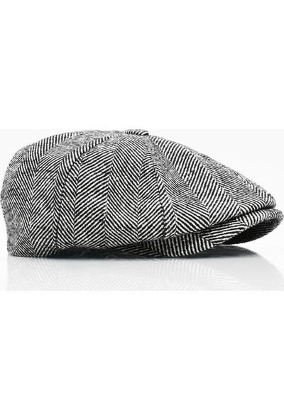 Külah Erkek Yün Şapka Kasket Gotham Newsboy Cap-Siyah