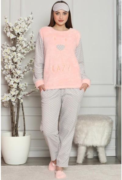 Pijama Evi Lazy Desenli Kadın Peluş Pijama Takımı