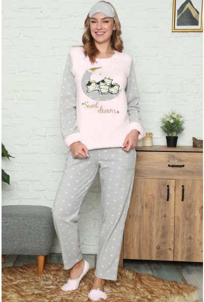 Pijama Evi Sweet Cat Desenli Kadın Peluş Pijama Takımı