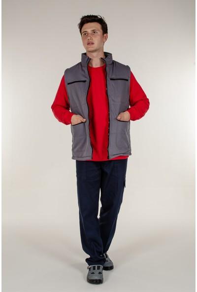Mert Giyim Gri Kışlık Yelek İçi Polar ve Çok Cepli