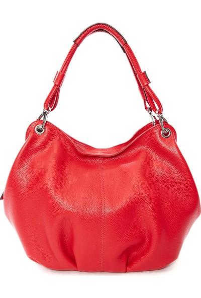 Parma Hakiki Kadın Deri Çanta Kırmızı