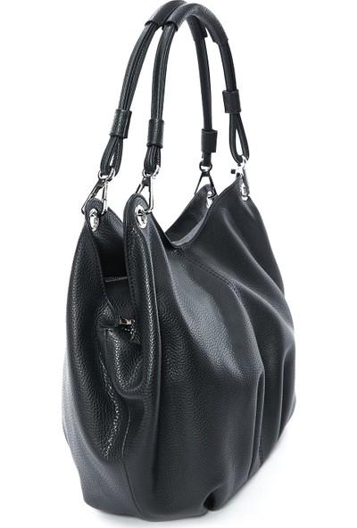 Parma Hakiki Kadın Deri Çanta Siyah