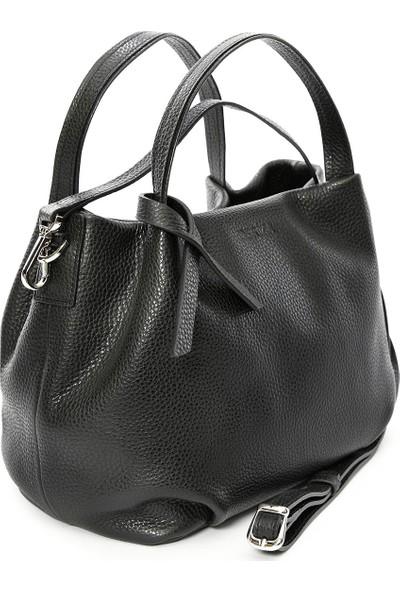 Arge Hakiki Kadın Deri Çanta Siyah