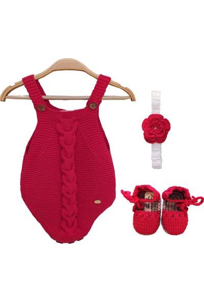 Pacco Baby El Örgüsü Organik Pamuk Kırmızı Bebek Tulum Set