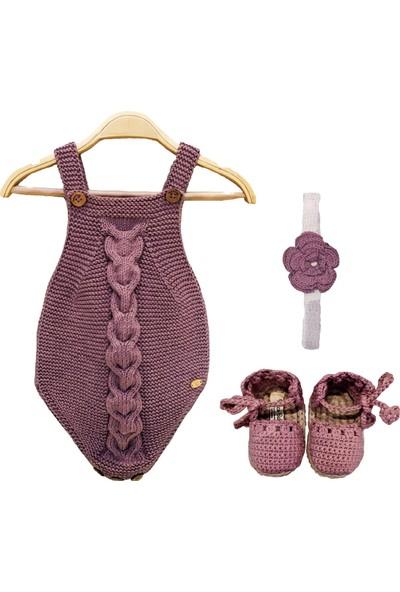 Pacco Baby El Örgüsü Organik Pamuk Leylak Bebek Tulum Set