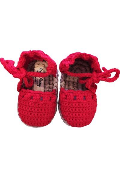 Pacco Baby El Örgüsü Organik Pamuk Kırmızı Tütü Elbise Set