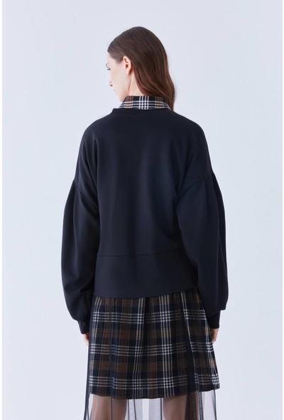 Roman Büzgü Detaylı Siyah Sweatshirt-K2154110-001