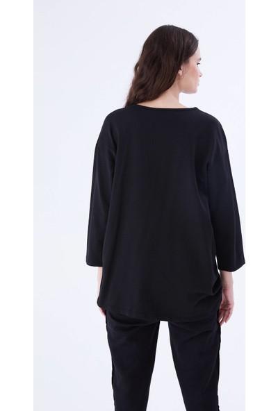 Roman Çiçek Detaylı Siyah Sweatshirt-K9921406-001
