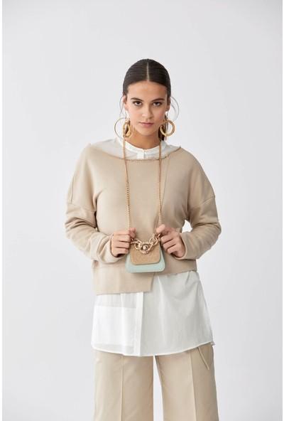 Roman Geniş Yaka Bej Sweatshirt-K2154201-024