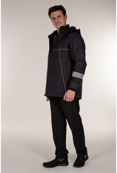 Mert Giyim Lacivert Güvenlik Kaban Reflektör Şeritli