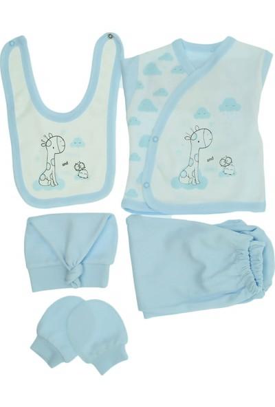 Monello Pattiseri 5Li Erkek Bebek Zıbın Takımı Mavi