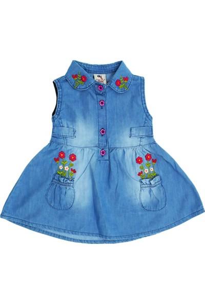 Varol Kids Kız Bebek Çiçek Nakışlı Kot Elbise