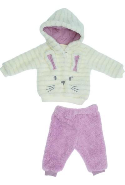 Necix Kız Bebek Tavşan Nakışlı Welsoftlu Polar Takım