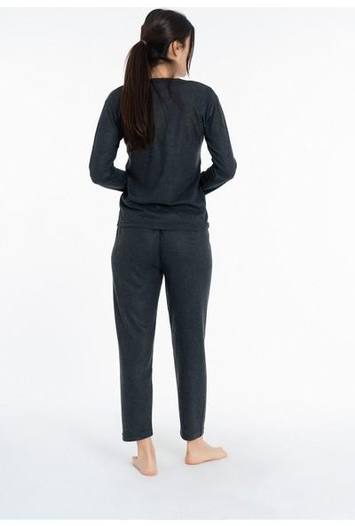 Miss Vina Missvina Rüyam Düğmeli Interlok Pijama Takımı K-65 Antrasit