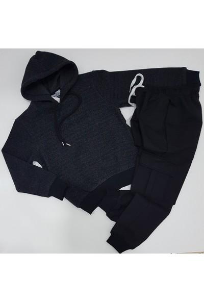 Armoni Erkek Çocuk Siyah Kapüşonlu Pamuklu Sweat Yandan Cep Modelli Alt Eşofman Takımı