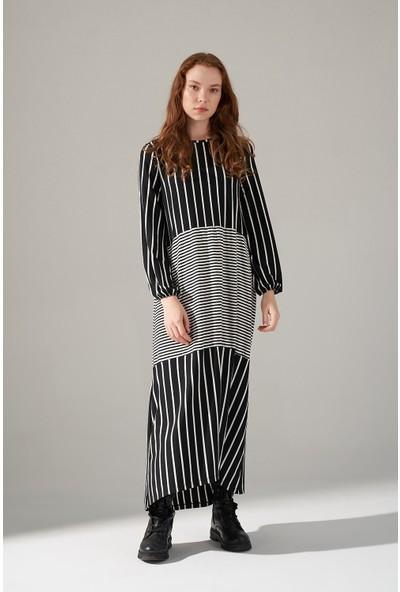 Mizalle Çizgi Parçalı Örme Elbise (Siyah)