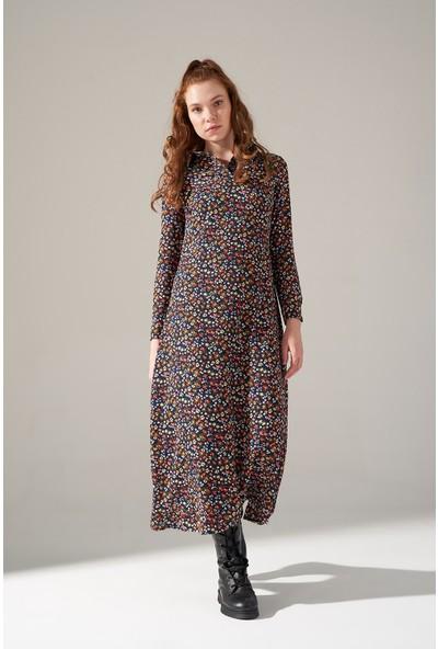 Mizalle Desenli Gömlek Yaka Elbise (Indigo)