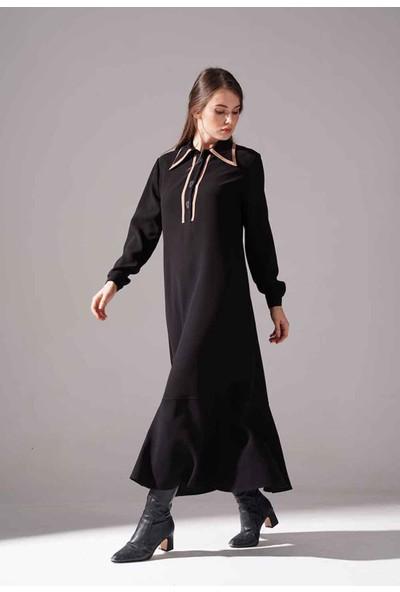 Mizalle Biyeli Krep Elbise (Siyah)