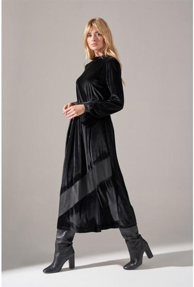 Mizalle Deri Detaylı Kadife Elbise (Siyah)