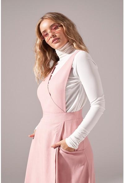 Mizalle Soft Dokulu Jile Elbise (Pembe)